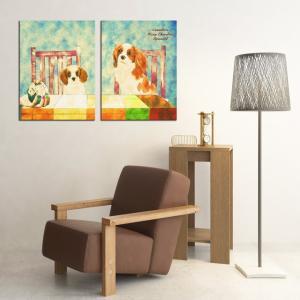 【Retro】 キャバリアキングチャールズスパニエル Lサイズ×2枚セット ワンにゃんアートキャンバス (絵画/アート/犬)|wan-nyan-gallery
