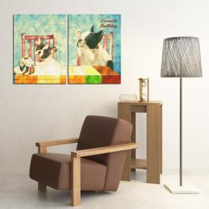 【Retro】 フレンチブルドッグ Lサイズ×2枚セット ワンにゃんアートキャンバス (絵画/アート/犬)|wan-nyan-gallery