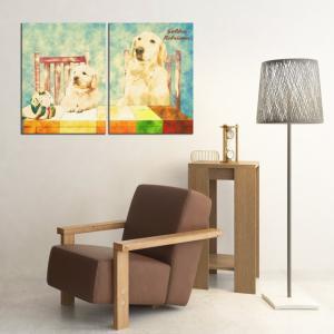 【Retro】 ゴールデンレトリバー Lサイズ×2枚セット ワンにゃんアートキャンバス (絵画/アート/犬)|wan-nyan-gallery