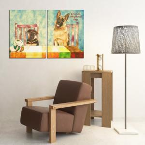 【Retro】 ジャーマンシェパードドッグ Lサイズ×2枚セット ワンにゃんアートキャンバス (絵画/アート/犬)|wan-nyan-gallery