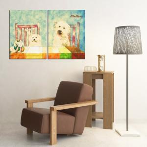 【Retro】 マルチーズ Lサイズ×2枚セット ワンにゃんアートキャンバス (絵画/アート/犬)|wan-nyan-gallery