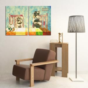 【Retro】 ミニチュアシュナウザー Lサイズ×2枚セット ワンにゃんアートキャンバス (絵画/アート/犬)|wan-nyan-gallery