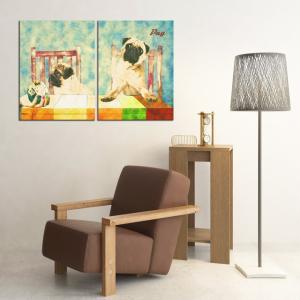 【Retro】 パグ Lサイズ×2枚セット ワンにゃんアートキャンバス (絵画/アート/犬)|wan-nyan-gallery