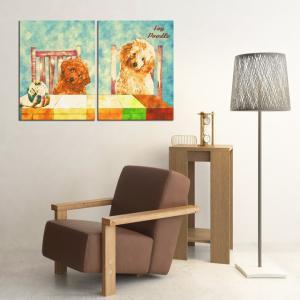 【Retro】 トイプードル Lサイズ×2枚セット ワンにゃんアートキャンバス (絵画/アート/犬)|wan-nyan-gallery