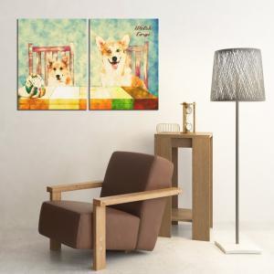 【Retro】 ウェルシュコーギー Lサイズ×2枚セット ワンにゃんアートキャンバス (絵画/アート/犬)|wan-nyan-gallery