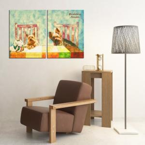 【Retro】 ヨークシャテリア Lサイズ×2枚セット ワンにゃんアートキャンバス (絵画/アート/犬)|wan-nyan-gallery
