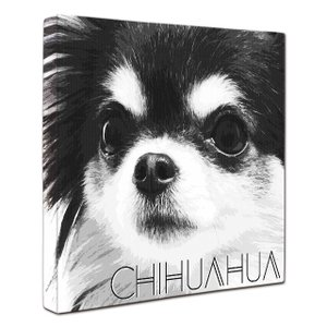 【IMPACT -shirokuro-】 チワワ Lサイズ ワンにゃんアートキャンバス (絵画/犬/...