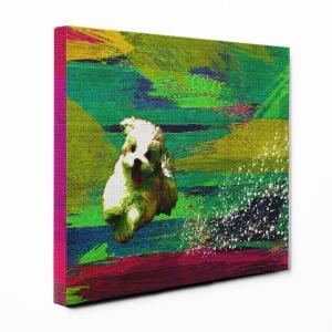 【Full of life】 マルチーズ Mサイズ ワンにゃんアートキャンバス Vivid series (絵画/アートパネル/犬)|wan-nyan-gallery