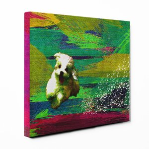 【Full of life】 マルチーズ Sサイズ ワンにゃんアートキャンバス Vivid series (絵画/アートパネル/犬)|wan-nyan-gallery