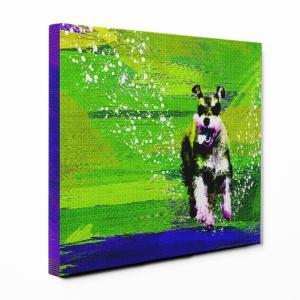 【Full of life】 ミニチュアシュナウザー Lサイズ ワンにゃんアートキャンバス Vivid series (絵画/アートパネル/犬)|wan-nyan-gallery