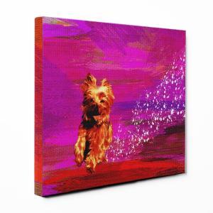 【Full of life】 ヨークシャテリア Sサイズ ワンにゃんアートキャンバス Vivid series (絵画/アートパネル/犬)|wan-nyan-gallery