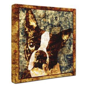 【Sit!】 ボストンテリア Lサイズ ワンにゃんアートキャンバス Vintage series (絵画/犬/インテリア雑貨/グッズ)|wan-nyan-gallery