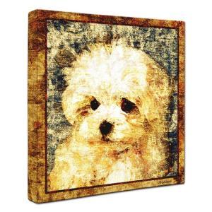 【Sit!】 マルチーズ Lサイズ ワンにゃんアートキャンバス Vintage series (絵画/犬/インテリア雑貨/グッズ)|wan-nyan-gallery