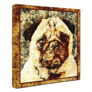 【Sit!】 パグ Lサイズ ワンにゃんアートキャンバス Vintage series (絵画/犬/インテリア雑貨/グッズ)|wan-nyan-gallery