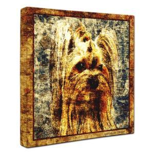 【Sit!】 ヨークシャテリア Lサイズ ワンにゃんアートキャンバス Vintage series (絵画/犬/インテリア雑貨/グッズ)|wan-nyan-gallery