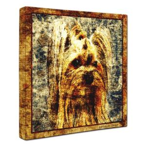 【Sit!】 ヨークシャテリア Sサイズ ワンにゃんアートキャンバス Vintage series (絵画/犬/インテリア雑貨/グッズ)|wan-nyan-gallery