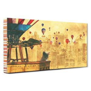 【NEWYORK】 ロシアンブルー Mサイズ ワンにゃんアートキャンバス World tour series (絵画/アートパネル/猫)|wan-nyan-gallery