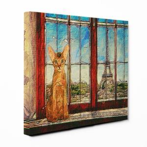 【PARIS】 アビシニアン Sサイズ ワンにゃんアートキャンバス World tour serie...