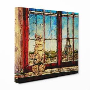 【PARIS】 アメリカンショートヘア Mサイズ ワンにゃんアートキャンバス World tour series (絵画/風景画/猫)|wan-nyan-gallery