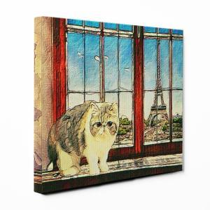 【PARIS】 エキゾチックショートヘア Lサイズ ワンにゃんアートキャンバス World tour series (絵画/風景画/猫) wan-nyan-gallery