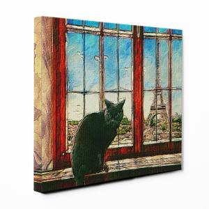 【PARIS】 ミックス Lサイズ ワンにゃんアートキャンバス World tour series (絵画/風景画/猫)|wan-nyan-gallery