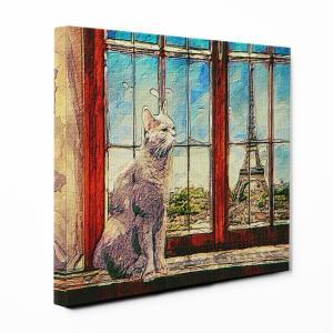【PARIS】 ロシアンブルー Lサイズ ワンにゃんアートキャンバス World tour series (絵画/風景画/猫)|wan-nyan-gallery