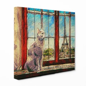 【PARIS】 ロシアンブルー Sサイズ ワンにゃんアートキャンバス Ocean series (絵画/風景画/猫)|wan-nyan-gallery