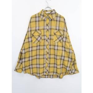 GYDA(ジェイダ)[2020]オーバーサイズチェックシャツ 長袖 黄/茶 レディース Aランク F