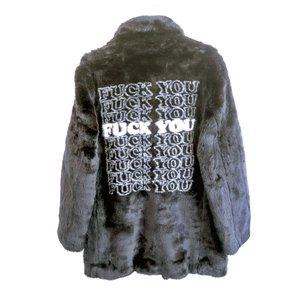 Supreme×HYSTERIC GLAMOUR(シュプリーム×ヒステリックグラマー)Fuck you Faux Fur Coat 長袖 黒 メンズ Sランク M|wanboo
