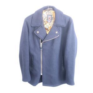 Scott×24karats(ショット×トゥエンティーフォーカラッツ)スタッズウールライダースジャケット 長袖 紺 メンズ Aランク 34|wanboo
