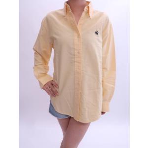 Brooks Brothers(ブルックスブラザーズ)ワンポイント刺繍ベーシックコットンシャツ 長袖 黄 メンズ Aランク M|wanboo
