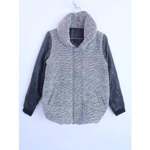LATINA(ラティーナ)フェイクレザー切り替え中綿コート 長袖 白/黒 レディース M|wanboo