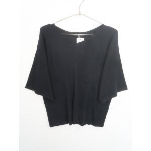 UNIQLO(ユニクロ)リブドルマンVネックセーター 七分袖 黒 レディース 新品 XL|wanboo