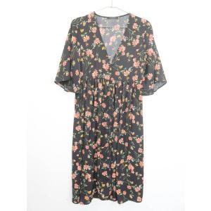 INGNI(イング)花柄ガウンシャツワンピース 五分袖 黒/ピンク レディース Aランク M|wanboo