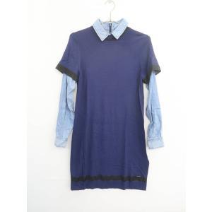 DIESEL(ディーゼル)デニムレイヤードワンピース 長袖 紺/青 レディース Aランク|wanboo