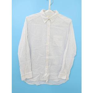 Ungrid(アングリッド)ストライプソフトシャツ 長袖 白/青 レディース Aランク F|wanboo