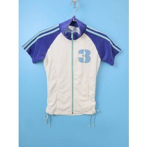 adidas(アディダス)サイドギャザーパイルナンバージャケット 半袖 白/青 レディース Aランク S|wanboo