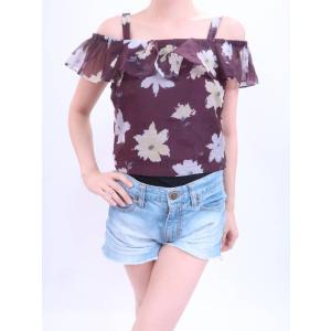 CECIL McBEE(セシルマクビー)花柄オフショルダートップス 紫 レディース Aランク M|wanboo
