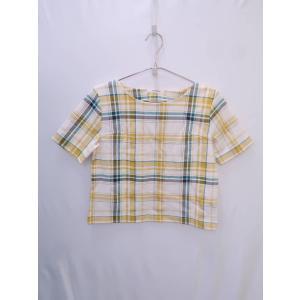 MOUSSY(マウジー)チェックパターントップス 半袖 黄/白 レディース A-ランク F|wanboo