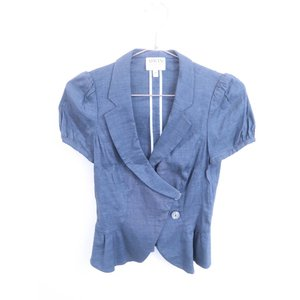 ARMANI COLLEZIONI(アルマーニコレツィオーニ)デザインジャケット 半袖 紺 レディー...