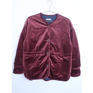 POU DOU DOU(プードゥドゥ)バックギャザーベロア中綿ジャケット 長袖 赤 レディース M|wanboo