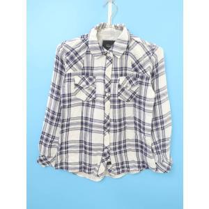Rails(レイルズ)チェックシャツ 長袖 白/紺 レディース Aランク