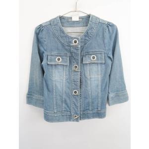 DOUBLE STANDARD CLOTHING(ダブルスタンダードクロージング)ノーカラーデニムジャケット 七分袖 青 レディース Aランク F|wanboo
