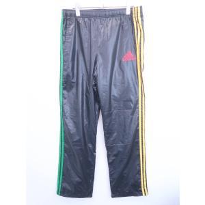 adidas(アディダス)ライン入りナイロン風パンツ 黒/黄 メンズ Aランク 0|wanboo