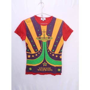 Vivienne Westwood(ヴィヴィアンウエストウッド)フロントプリントロゴTシャツ 半袖 赤/黄 メンズ Aランク 44|wanboo