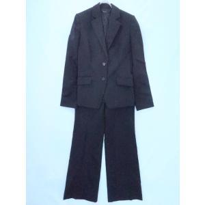 INTERPLANET(インタープラネット)ピンストライプパンツスーツセット 長袖 黒/白 レディース 40|wanboo