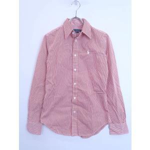 Ralph Lauren(ラルフローレン)ストライプシャツ 長袖 赤/白 レディース 0