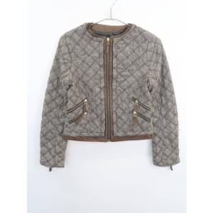 ZARA(ザラ)ノーカラーキルティングジャケット 長袖 茶/白 レディース Sランク XS|wanboo