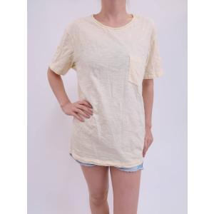 UNIQLO(ユニクロ)ウォッシュスラブクルーネックTシャツ 半袖 黄 メンズ A-ランク M|wanboo