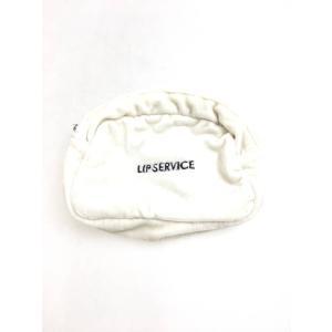 LIP SERVICE(リップサービス)ベロア刺繍ポーチ 白 黒 レディース Aランク wanboo